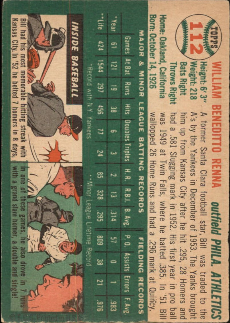 1954 Topps #112 Bill Renna RC back image