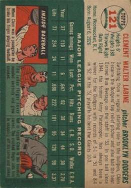 1954 Topps #121 Clem Labine back image