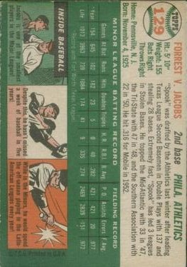 1954 Topps #129 Forrest Jacobs RC back image