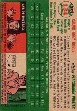 1954 Topps #134 Cal Hogue back image