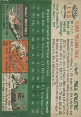 1954 Topps #145 Elmer Valo back image