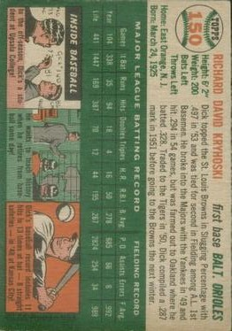 1954 Topps #150 Dick Kryhoski back image