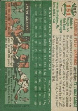 1954 Topps #151 Alex Grammas RC back image