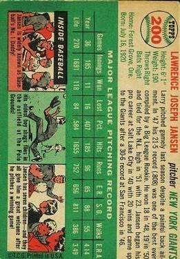 1954 Topps #200 Larry Jansen back image