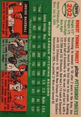 1954 Topps #202 Bob Purkey RC back image