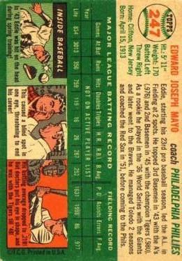 1954 Topps #247 Ed Mayo CO back image