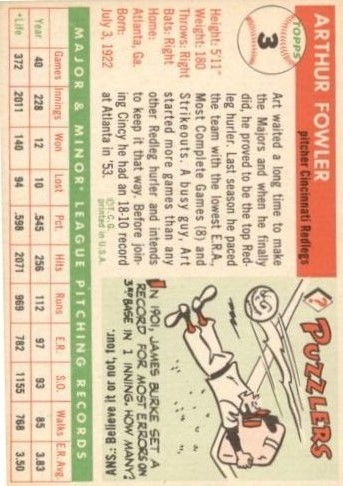 1955 Topps #3 Art Fowler RC back image