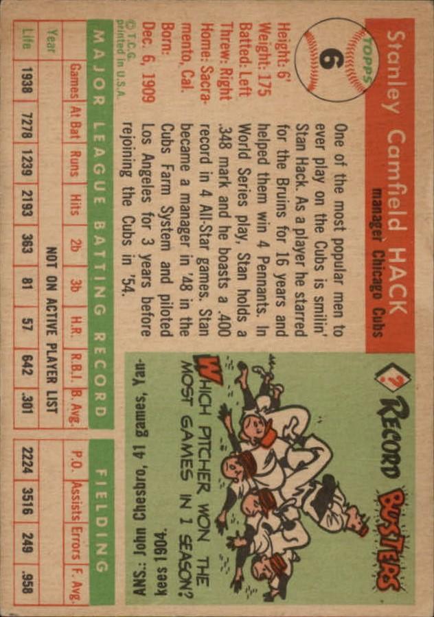 1955 Topps #6 Stan Hack MG RC back image
