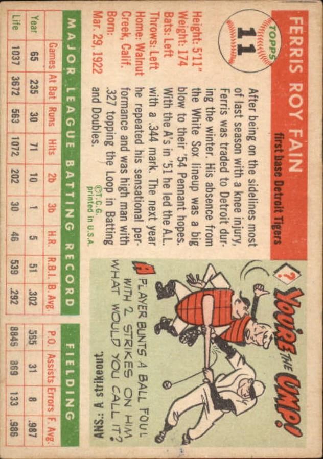 1955 Topps #11 Ferris Fain back image