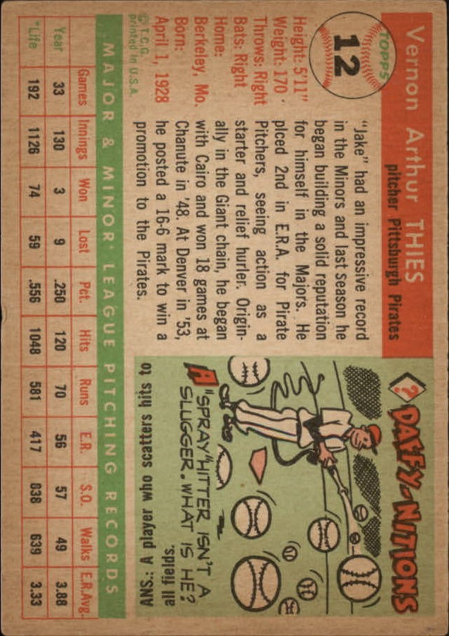 1955 Topps #12 Vernon Jake Thies RC back image