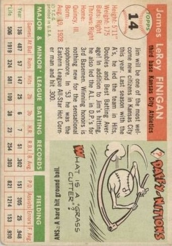 1955 Topps #14 Jim Finigan RC back image