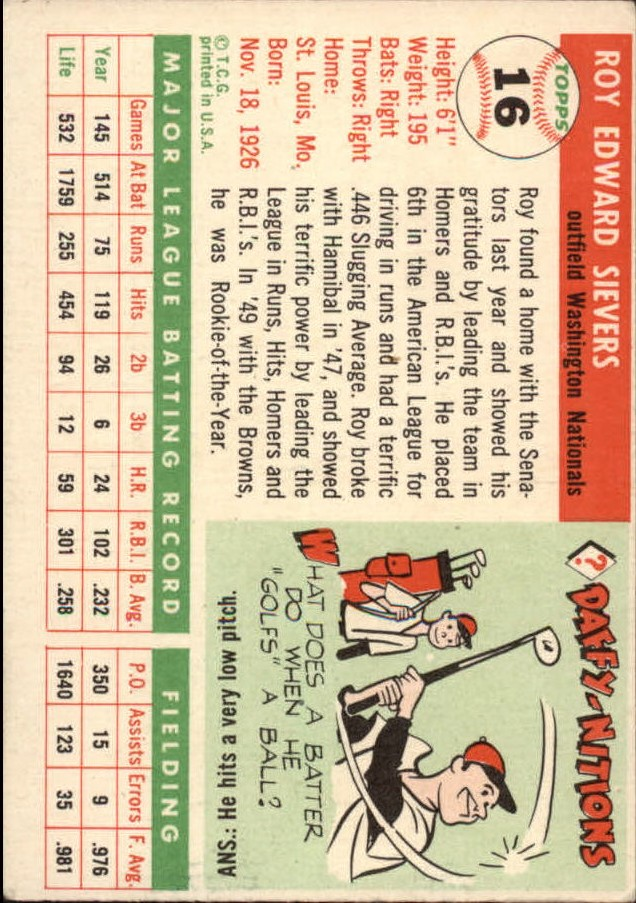 1955 Topps #16 Roy Sievers back image