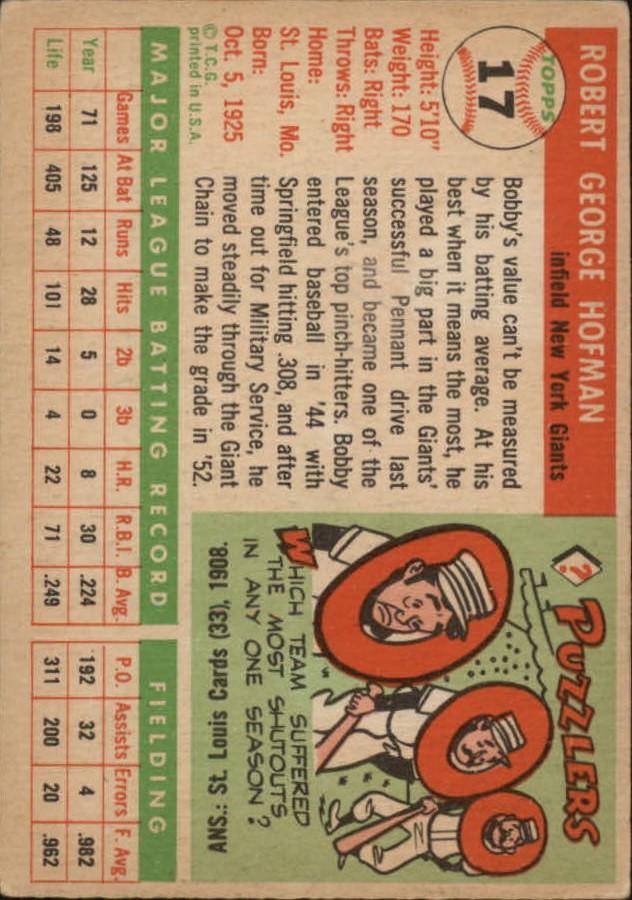 1955 Topps #17 Bobby Hofman back image