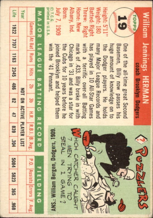1955 Topps #19 Billy Herman CO back image