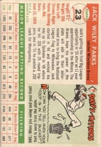 1955 Topps #23 Jack Parks RC back image