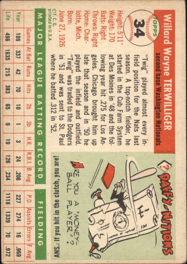 1955 Topps #34 Wayne Terwilliger back image