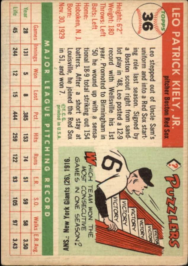 1955 Topps #36 Leo Kiely back image