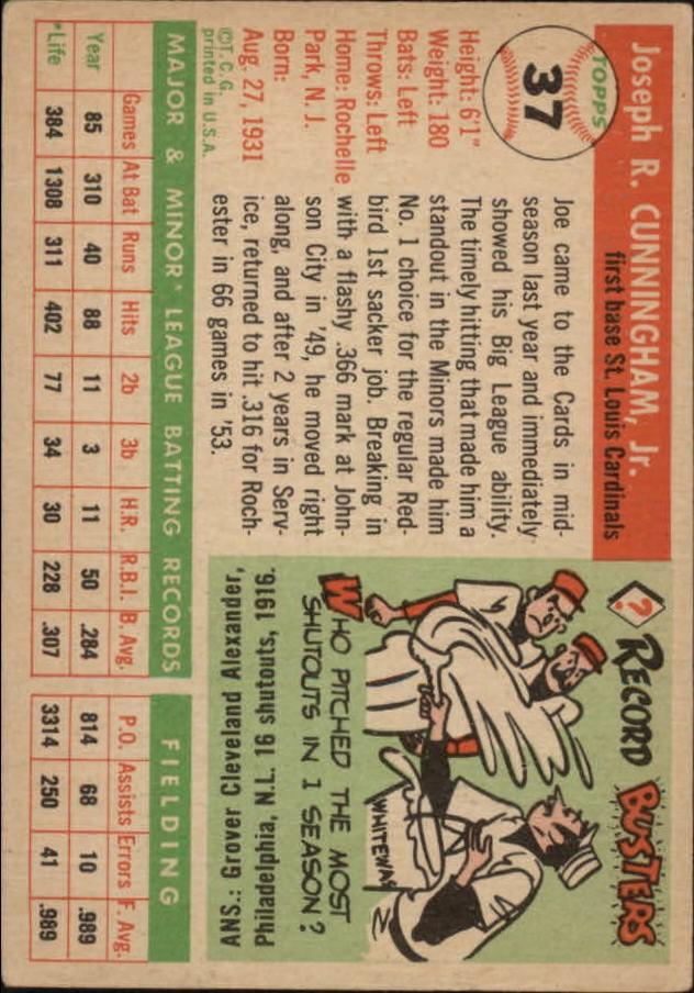1955 Topps #37 Joe Cunningham RC back image