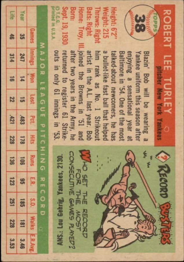 1955 Topps #38 Bob Turley back image