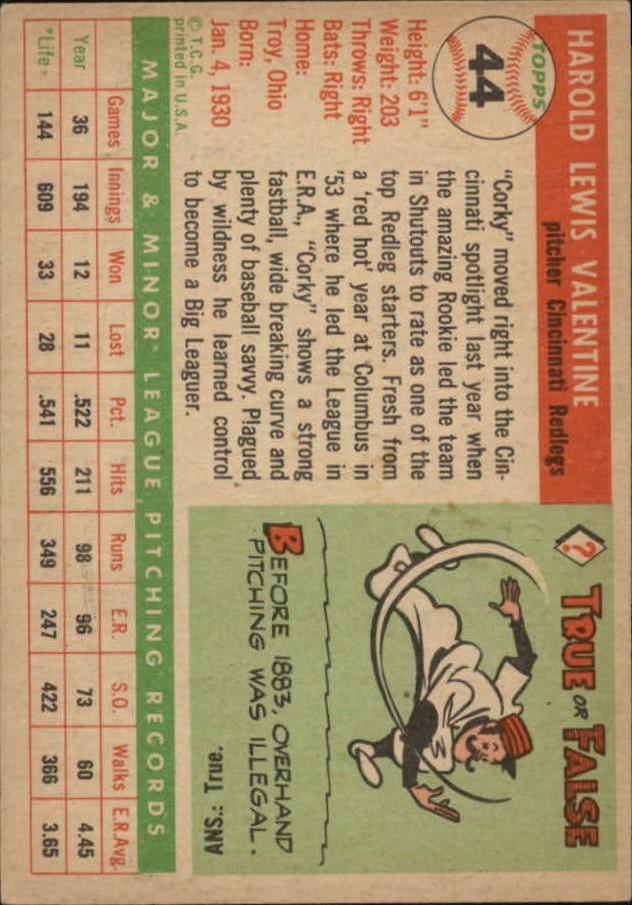 1955 Topps #44 Harold Valentine RC back image