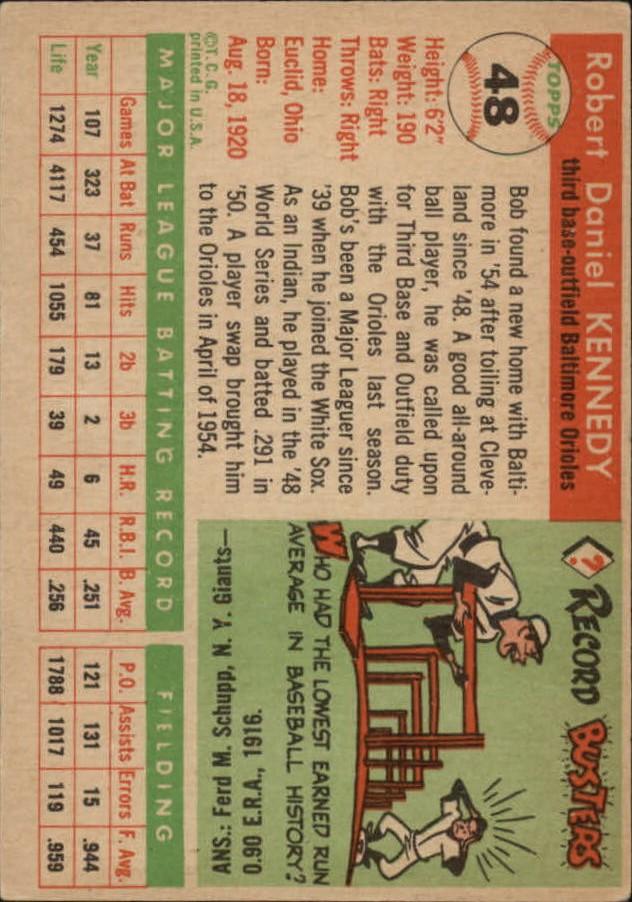 1955 Topps #48 Bob Kennedy back image