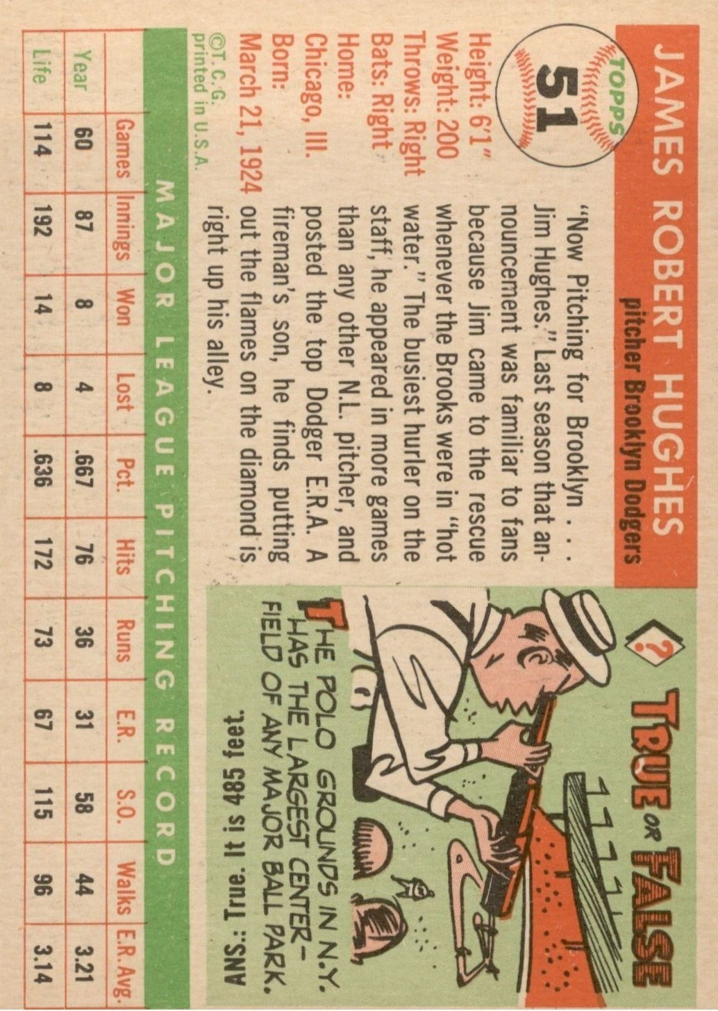 1955 Topps #51 Jim Hughes back image