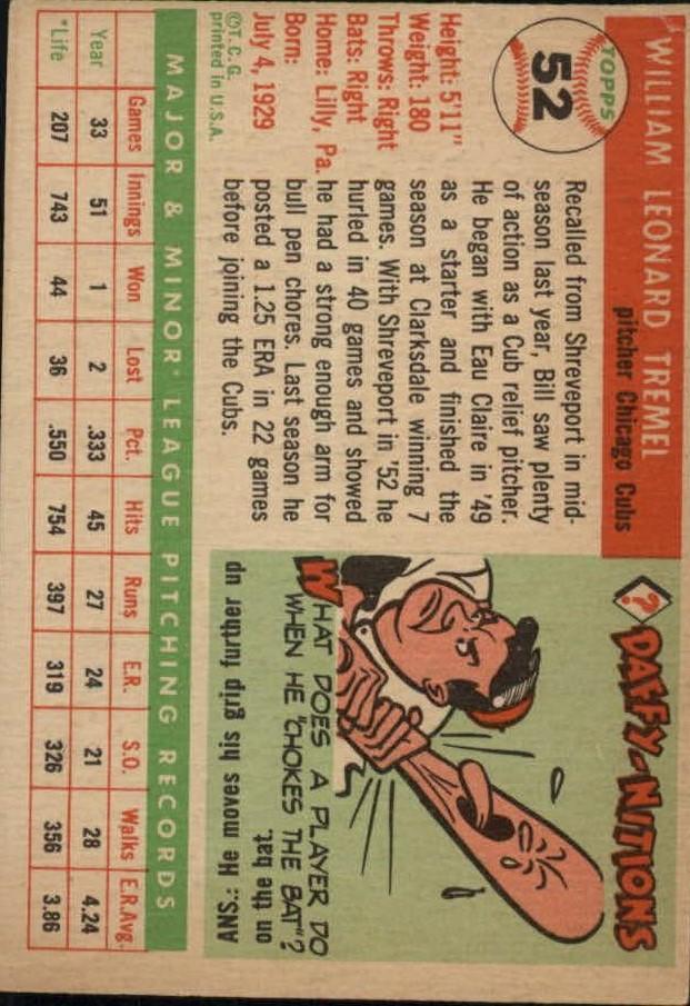 1955 Topps #52 Bill Tremel RC back image