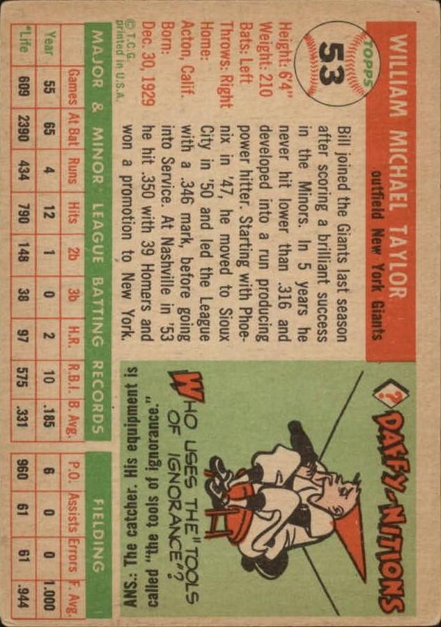 1955 Topps #53 Bill Taylor back image