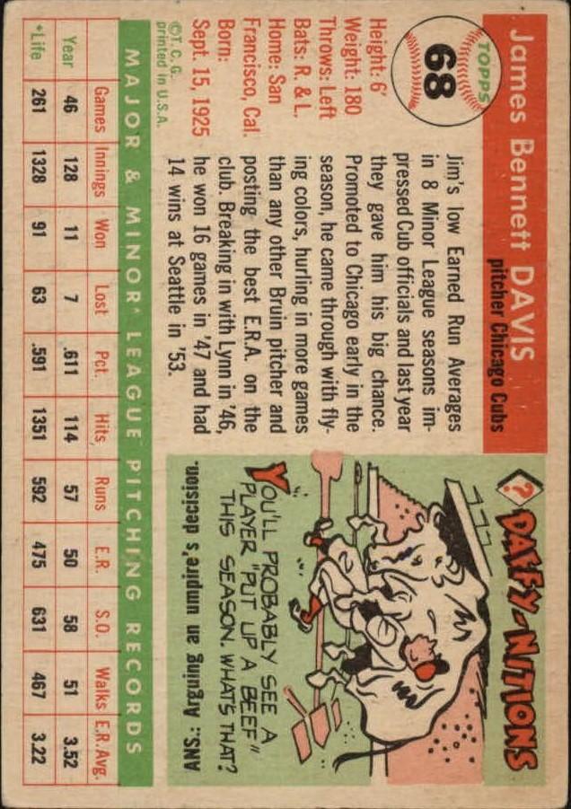 1955 Topps #68 Jim Davis RC back image