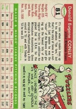 1955 Topps #81 Gene Conley back image
