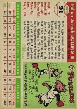 1955 Topps #91 Milt Bolling back image