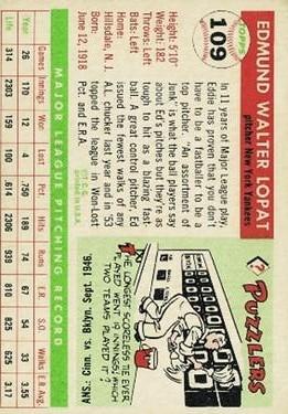 1955 Topps #109 Ed Lopat back image
