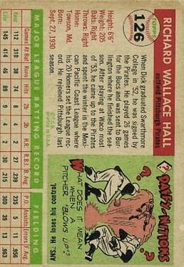 1955 Topps #126 Dick Hall RC back image