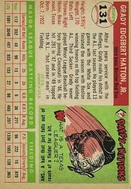 1955 Topps #131 Grady Hatton back image