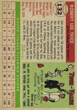 1955 Topps #132 Bob Trice back image