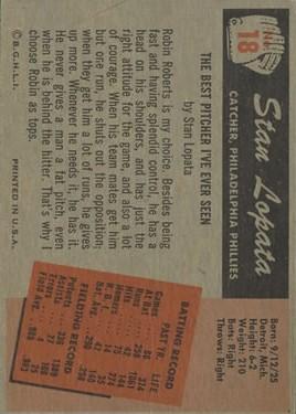 1955 Bowman #18 Stan Lopata back image