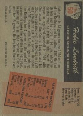 1955 Bowman #50 Hobie Landrith back image