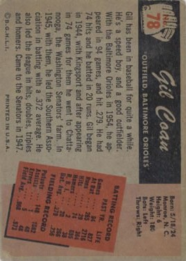 1955 Bowman #78 Gil Coan back image