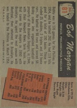 1955 Bowman #81 Bobby Morgan back image