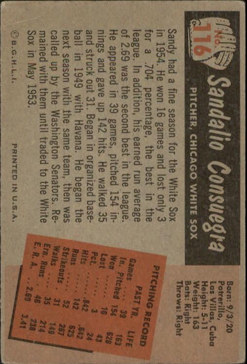 1955 Bowman #116 Sandy Consuegra back image