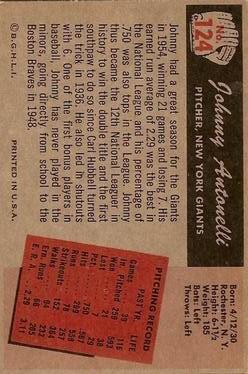 1955 Bowman #124 Johnny Antonelli back image