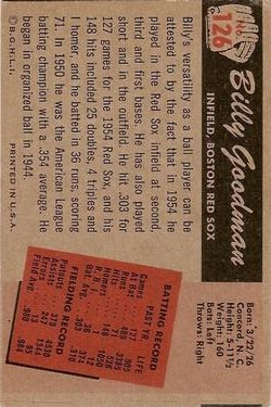 1955 Bowman #126 Billy Goodman back image