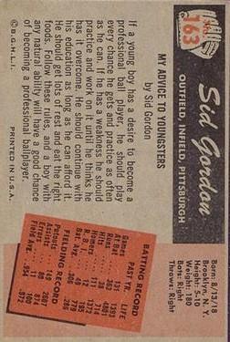 1955 Bowman #163 Sid Gordon back image