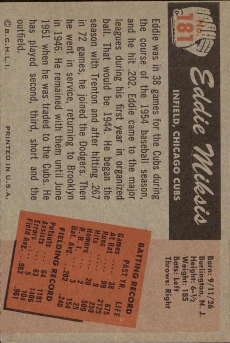 1955 Bowman #181 Eddie Miksis back image
