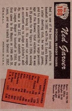 1955 Bowman #188 Ned Garver back image