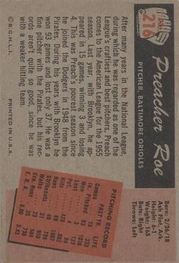1955 Bowman #216 Preacher Roe back image
