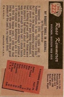 1955 Bowman #222 Russ Kemmerer RC back image