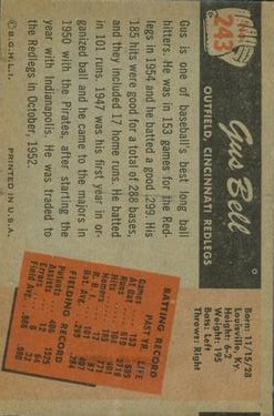 1955 Bowman #243 Gus Bell back image