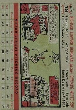 1956 Topps #18 Dick Donovan back image