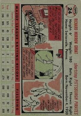 1956 Topps #24 Dick Groat back image